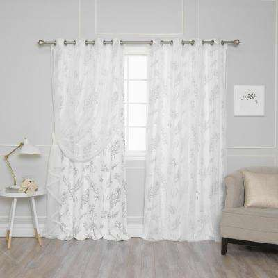 White 84 in. L uMIXm Tulle and Botanical Print Curtain (4-Pack)