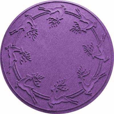 Purple 35 in. Round Reindeer Run Under the Tree Mat