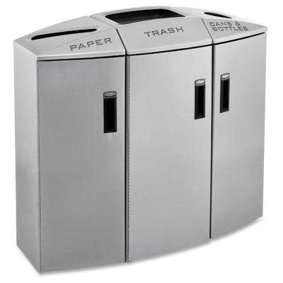 38 in. H x 40.3 in. W x 18 in. D Silver Metallic Element 3-Stream Recycle Station Commercial Trash Can
