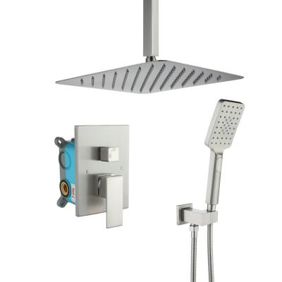 3-Spray with 2.5 GPM 12 in. 2 Functions Tub Ceiling Mount Dual Shower Heads in Spot in Brushed Nickel (Valve Included)