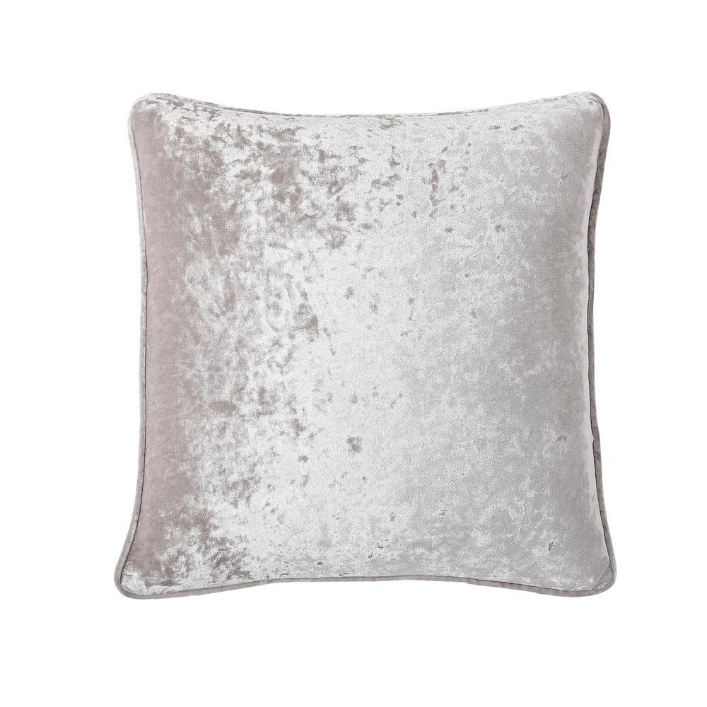 Morgan Home 18 in. Chloe Grey Velvet Throw Pillow Cover
