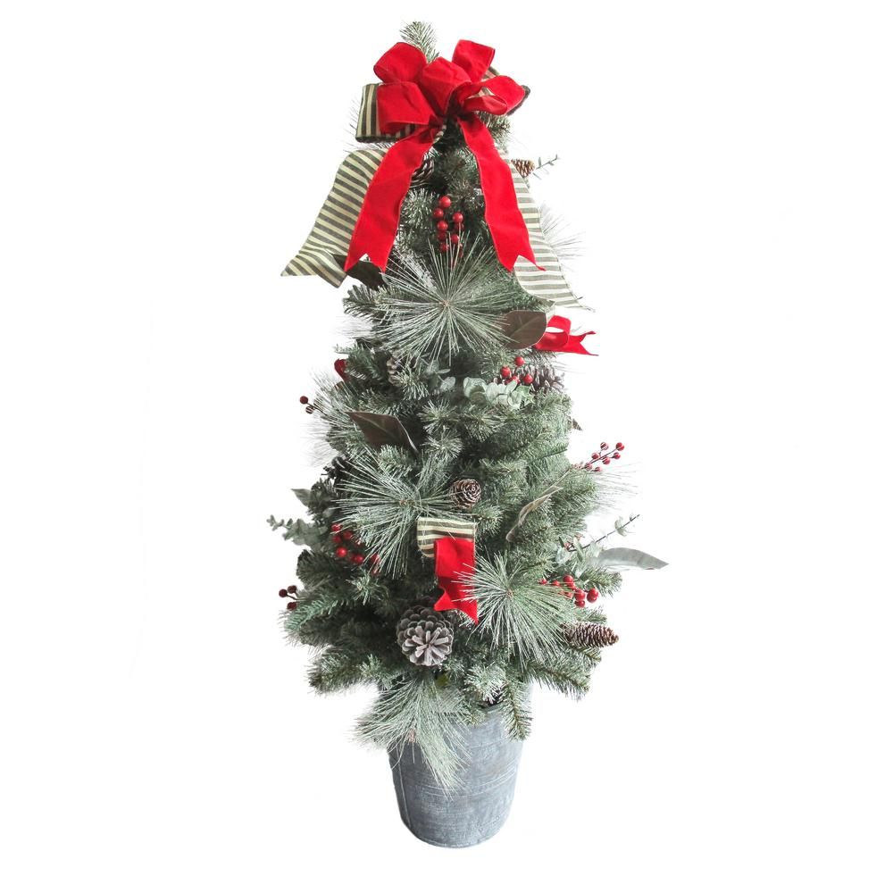 4 ft. Indoor/Outdoor Pre-Lit Artificial Porch Christmas Tree with ...