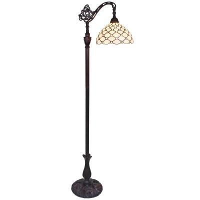 62 in. Tiffany Style Jeweled White Cream Reading Floor Standing Vintage Lamp