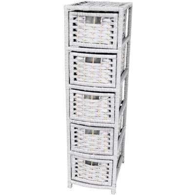 5-Drawer White Natural Fiber Occasional Trunk