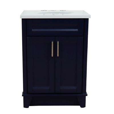 25 in. W x 22 in. D Single Bath Vanity in Blue with Quartz Vanity Top in White with White Oval Basin