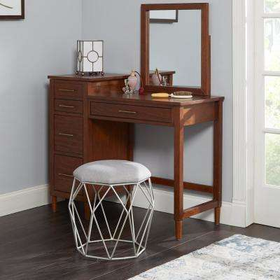 Collins Silver Geometric Cage Vanity Stool