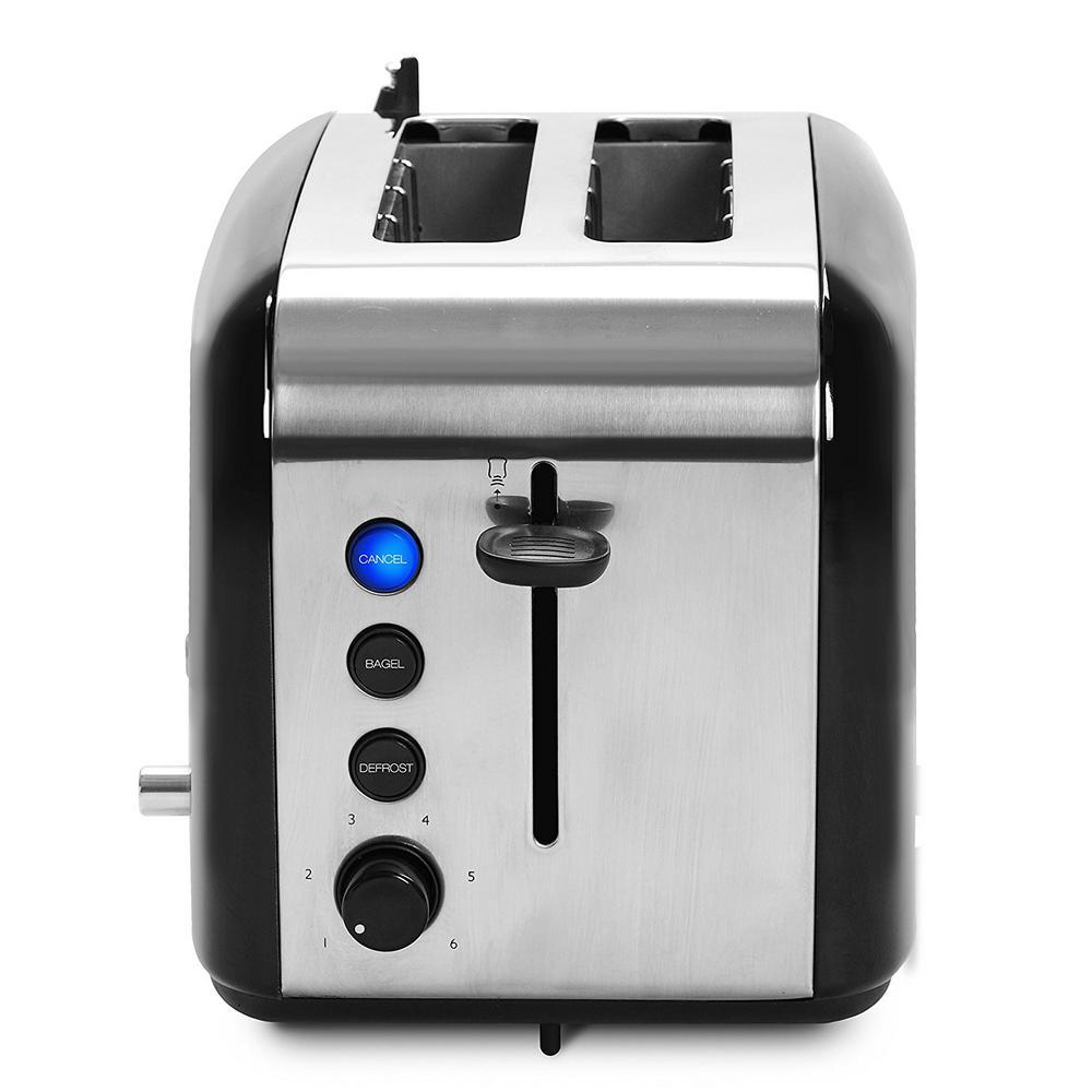 Radio 2-Slice Black Wide Slot Toaster with Adjustable Browning Controls