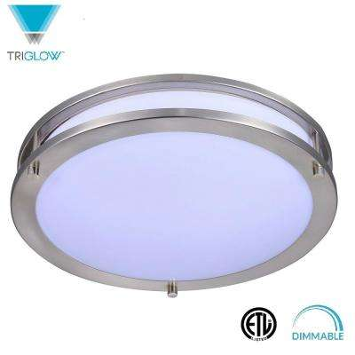100-Watt Equivalent Brushed Nickel Soft White 16 in. Dimmable Integrated LED Ceiling Flush Mount Fixture