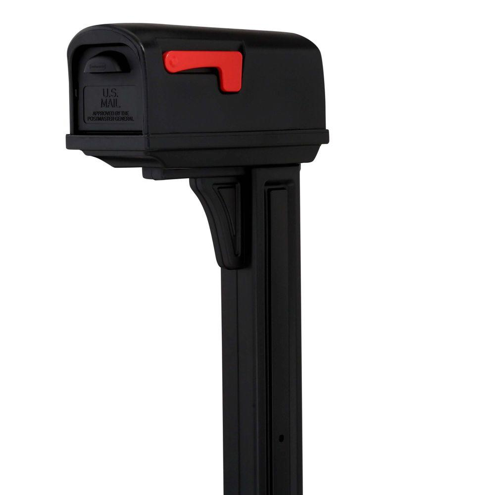 Rubbermaid Classic Plastic Mailbox and Post Combo with Double Door, Black