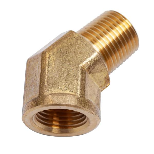 1/2 in. MIP x 1/2 in. FIP Brass Pipe Street 45-Degree Elbow Fitting (2-Pack)
