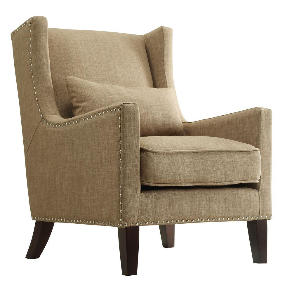 HomeSullivan Ashley Tan Linen Wing Back Arm Chair