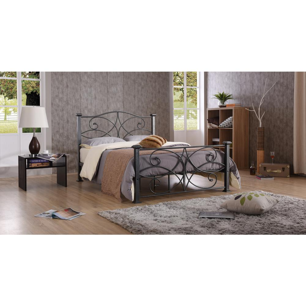 Hodedah Black and Silver Full Platform Bed-HI824 F Black-Silver ...