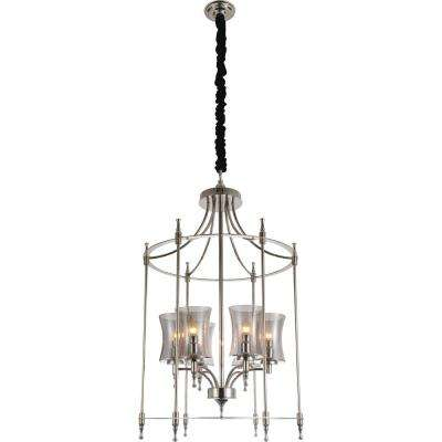 London 6-Light Chrome Chandelier with Clear shade