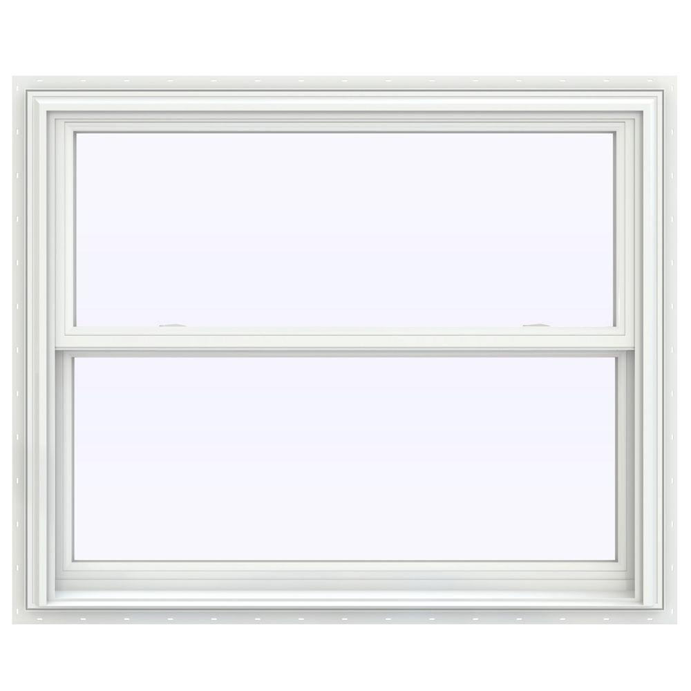 Jeld wen 43 5 in x 35 5 in v 2500 series white painted for Buy double hung windows online