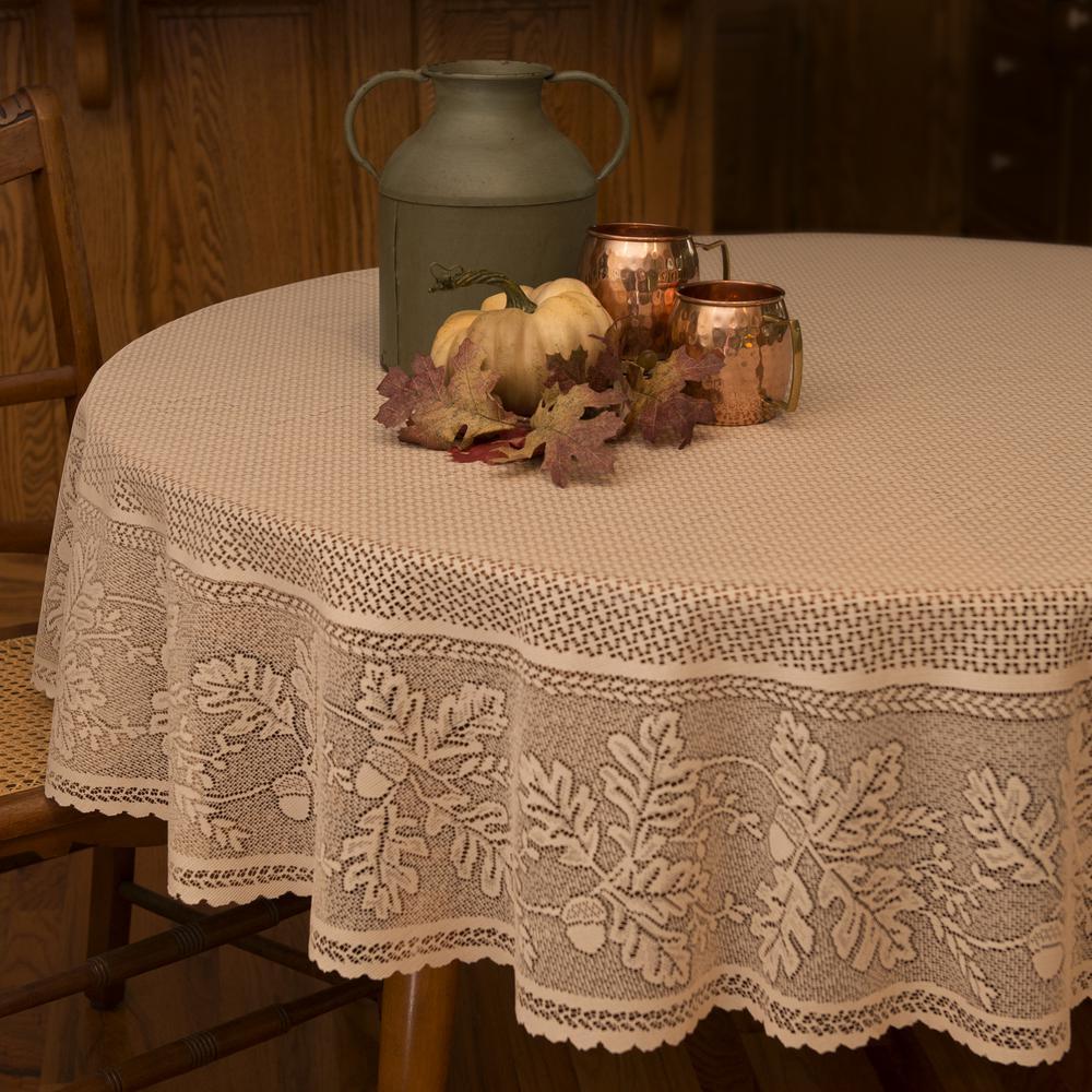 Oak Leaf Round Cafe Polyester Tablecloth
