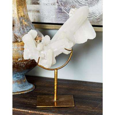 Curved Crystal Polystone Sculpture with Iron Band Brace and Flat Square Base