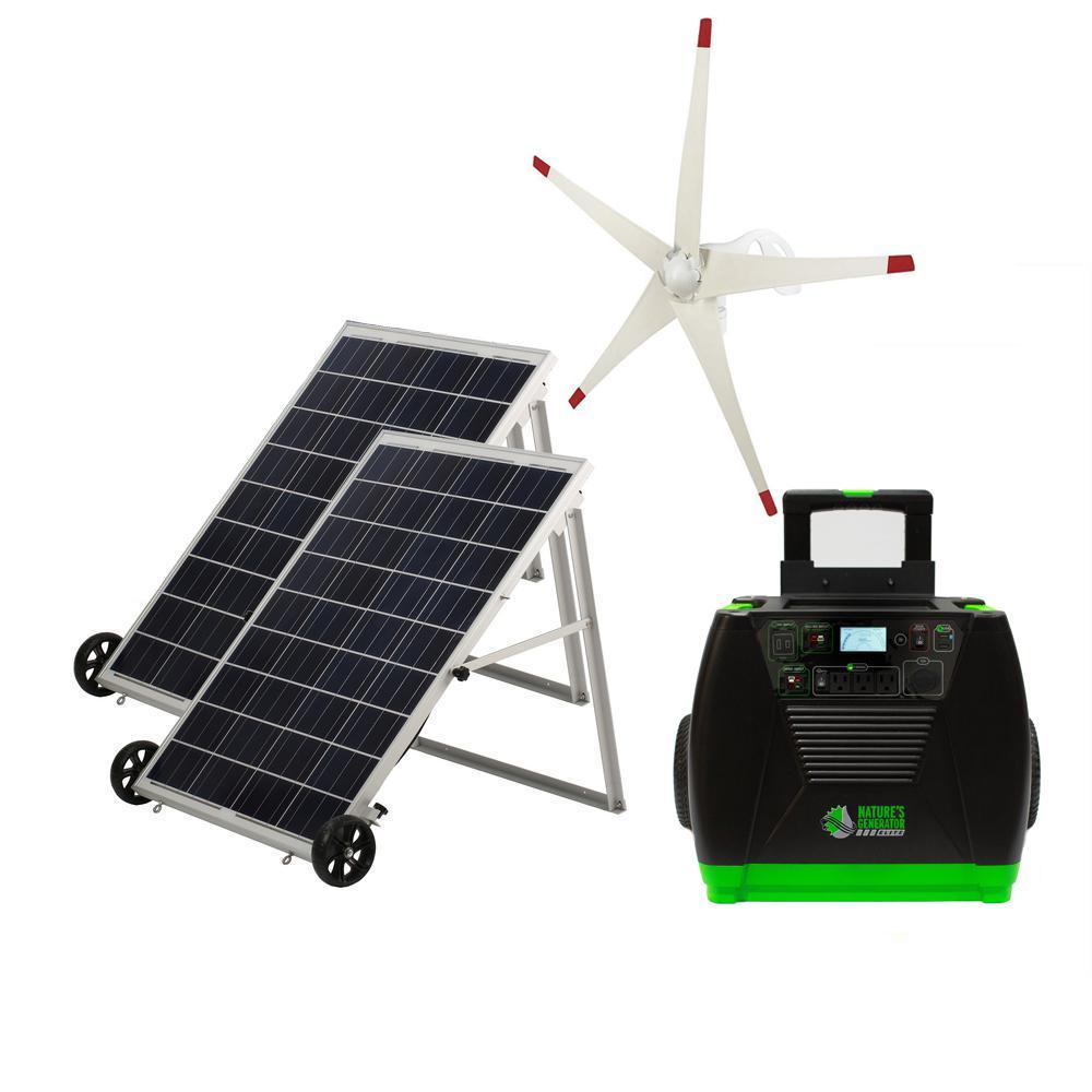 3600-Watt Electric Start Solar Powered Portable Generator with 2 Electric Start Solar Panels and Wind Turbine Kit