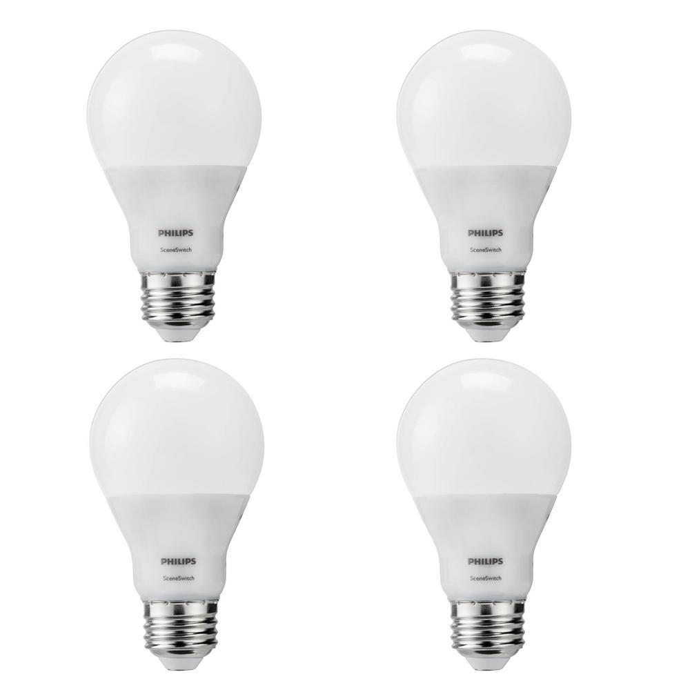 60-Watt Equivalent A19 SceneSwitch LED Light Bulb Soft White (2700K)/Amber (2500K)/ Warm Glow (2200K) (4-Pack)