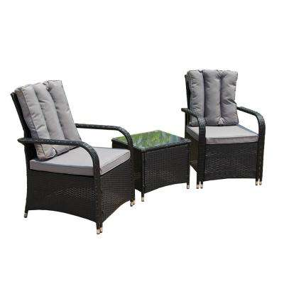 Black 3-Piece Wicker Patio Conversation Set with Grey Cushions