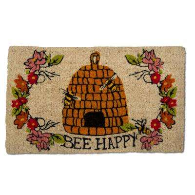Bee Happy 18 in. x 30 in. Multicolor Coir Door Mat