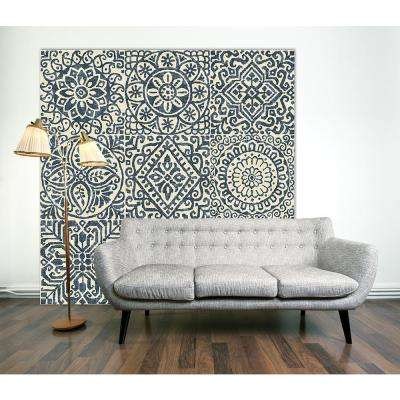 "72 in. x 72 in. ""Stencil Tile Design"" by Wild Apple Portfolio Printed Framed Canvas Wall Art"