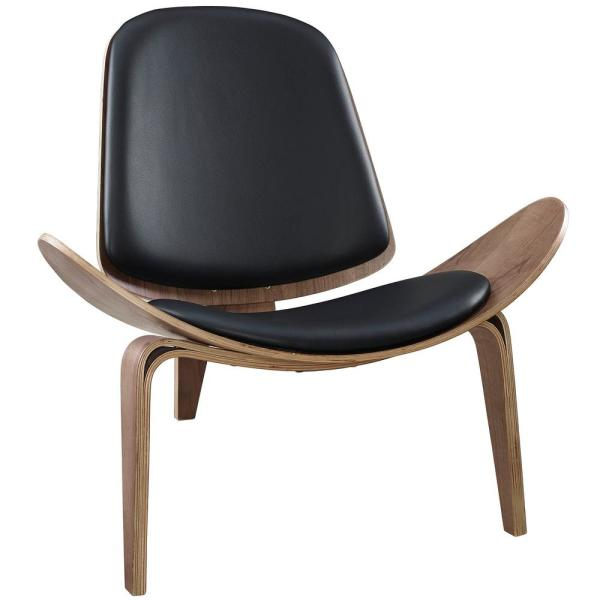 Modway Walnut Black Arch Upholstered Vinyl Lounge Chair