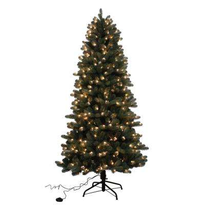 7.5 ft. Blue Spruce Elegant Twinkle Quick-Set Slim Artificial Christmas Tree with 450 Clear and Sparkling LED Lights