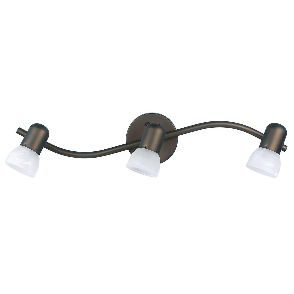 Canarm Jasper 23 In 3 Light Oil Rubbed Bronze Track Lighting Fixture With Alabaster Gl Shades