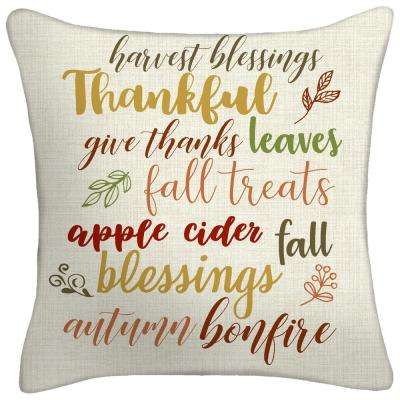 18 in. x 18 in. x 5 in. Thankful Toss Pillow