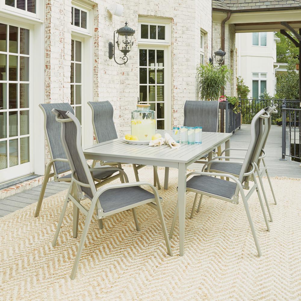 South Beach Gray 7-Piece Aluminum Round Outdoor Dining Set