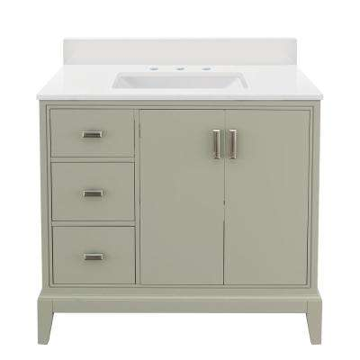Shaelyn 37 in. W x 22 in. D Vanity in Sage Green LH with Engineered Marble Vanity Top in Winter White with White Sink