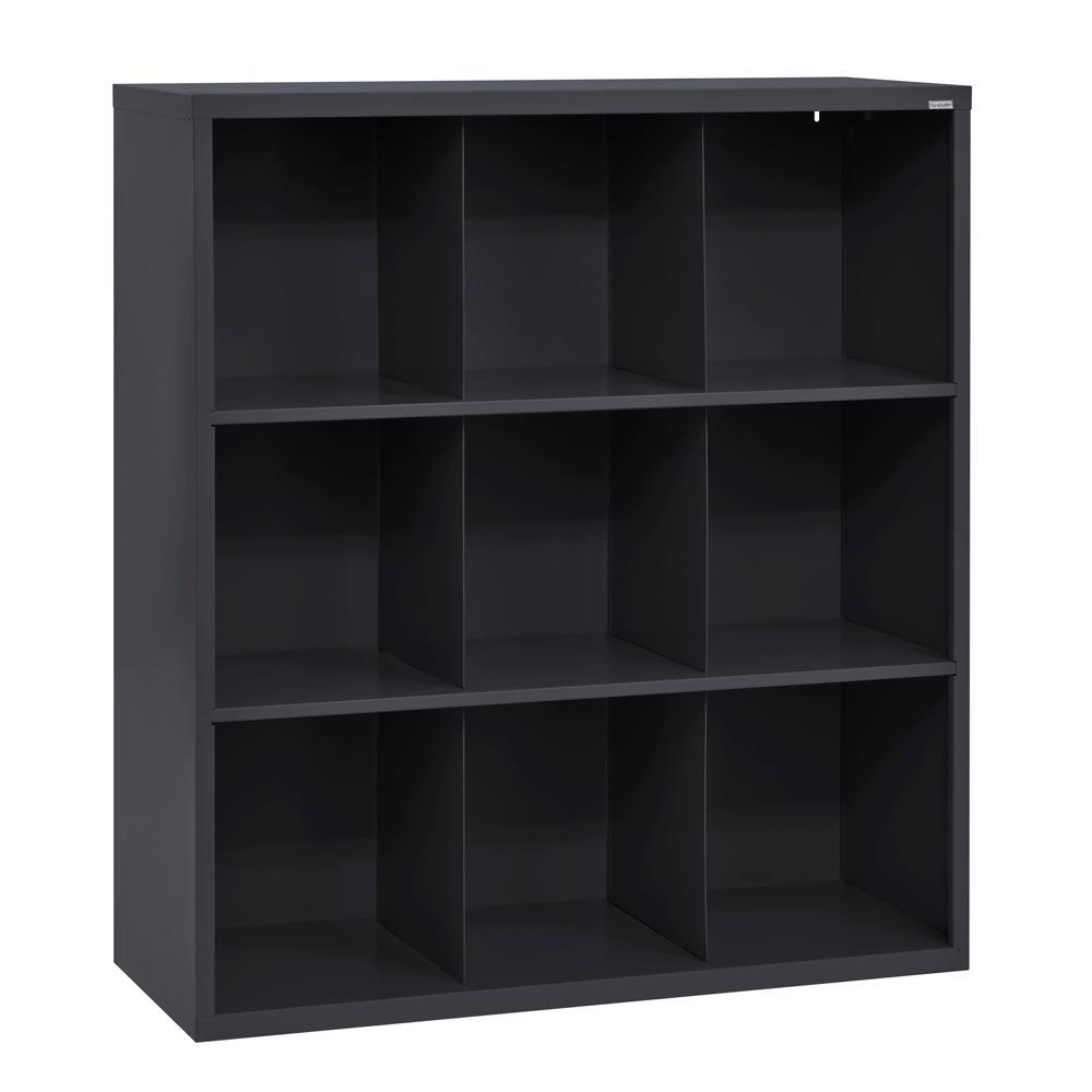 52 in. H x 46 in. W x 18 in. D Black 9-Cube Cubby Organizer