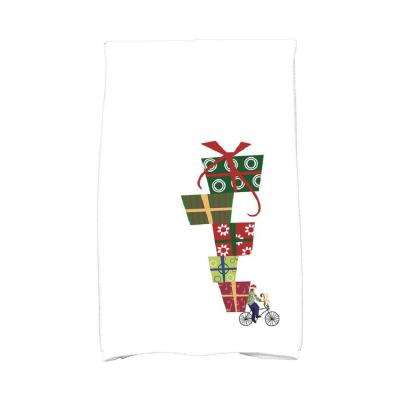16 in. x 25 in. White Special Delivery Holiday Geometric Print Kitchen Towel