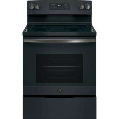 30 in. 5.3 cu. ft. Electric Range with Self-Cleaning Oven in Black Slate, Fingerprint Resistant