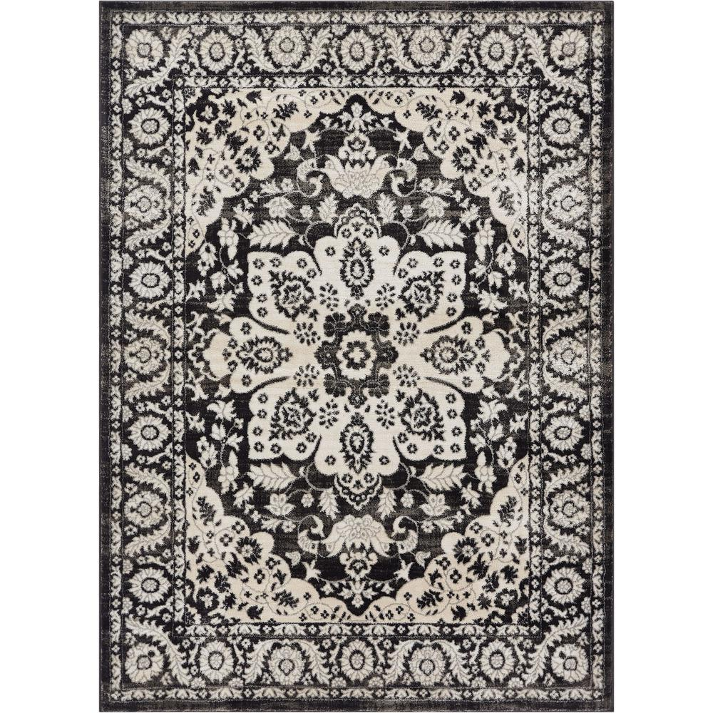 Well Woven Hughes Achilles Grey 5 ft. x 7 ft. Traditional Oriental Antique Look Medallion Area Rug