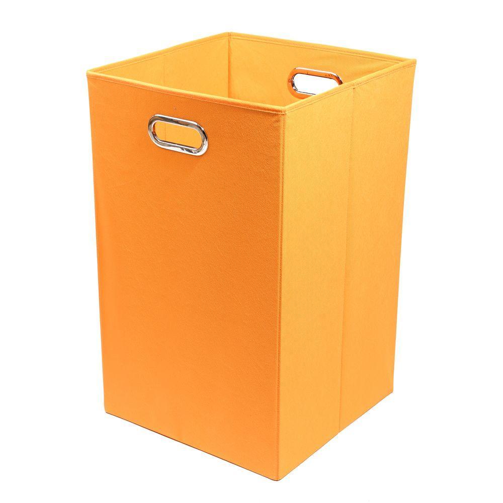 Bold Solid Orange Folding Laundry Basket