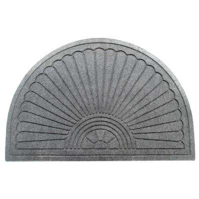A1HC Half-Moon Charcoal Grey 24 in. x 36 in. Eco-Poly Indoor/Outdoor Mat with Anti-Slip Tire Crumb Backing