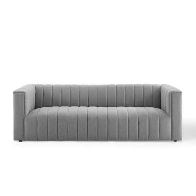 Reflection Channel Light Gray Tufted Upholstered Fabric Sofa