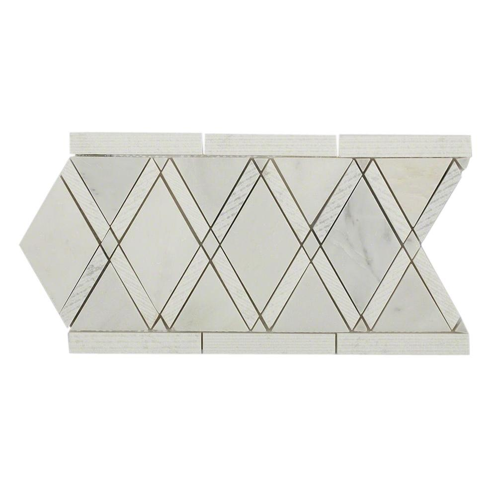Ivy Hill Tile Grand Textured Asian Statuary Border 6 in. x 12 in. x 10 mm Polished Marble Floor and Wall Tile