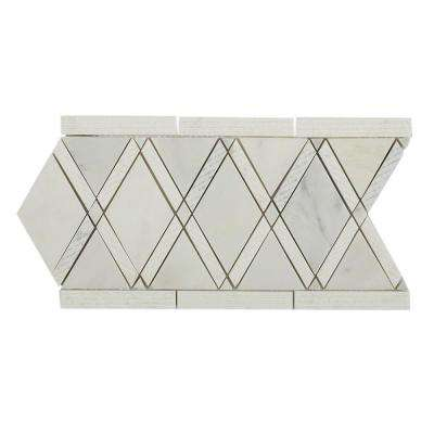 Grand Textured Asian Statuary Border 6 in. x 12 in. x 10 mm Polished Marble Floor and Wall Tile