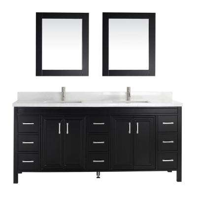 Dawlish 75 in. W x 22 in. D Vanity in Espresso with Engineered Vanity Top in White with White Basin and Mirror
