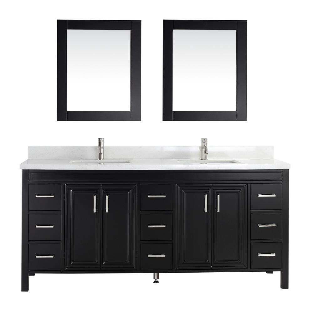 Studio Bathe Vanity Espresso Engineered Vanity Top White Basin Mirror