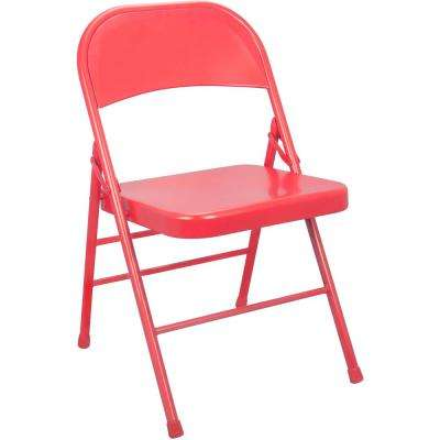 Red Metal Folding Chair (4-Pack)