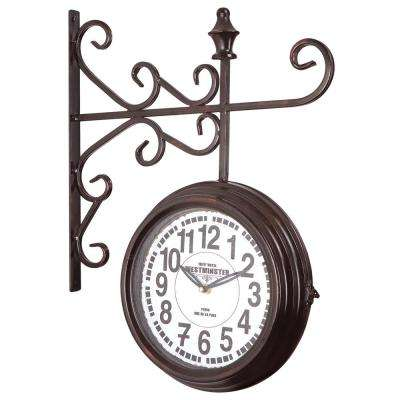 16 in. x 20 in. Double Sided Iron Wall Clock with Glass in Black Iron Frame