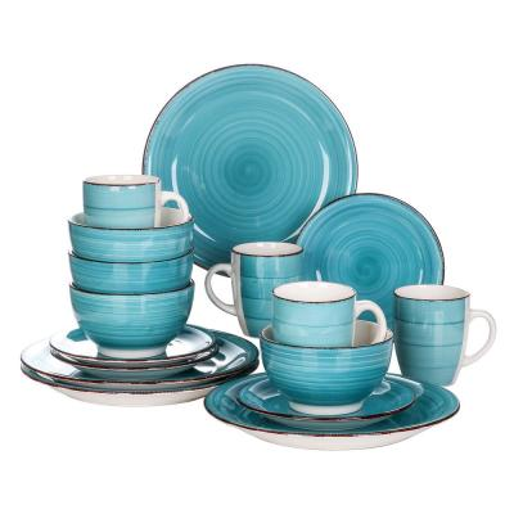 Series Bella 16-Pieces Dinnerware Set Porcelain Dinner Set Crockery in Vintage Look Turquoise (Service for 4)