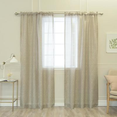 84 in. L Sheer Grey Damask Venice Curtain (2-Pack)