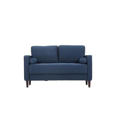 Lillith 31.1 in. Navy Blue Polyester 2-Seater Loveseat with Square Arms