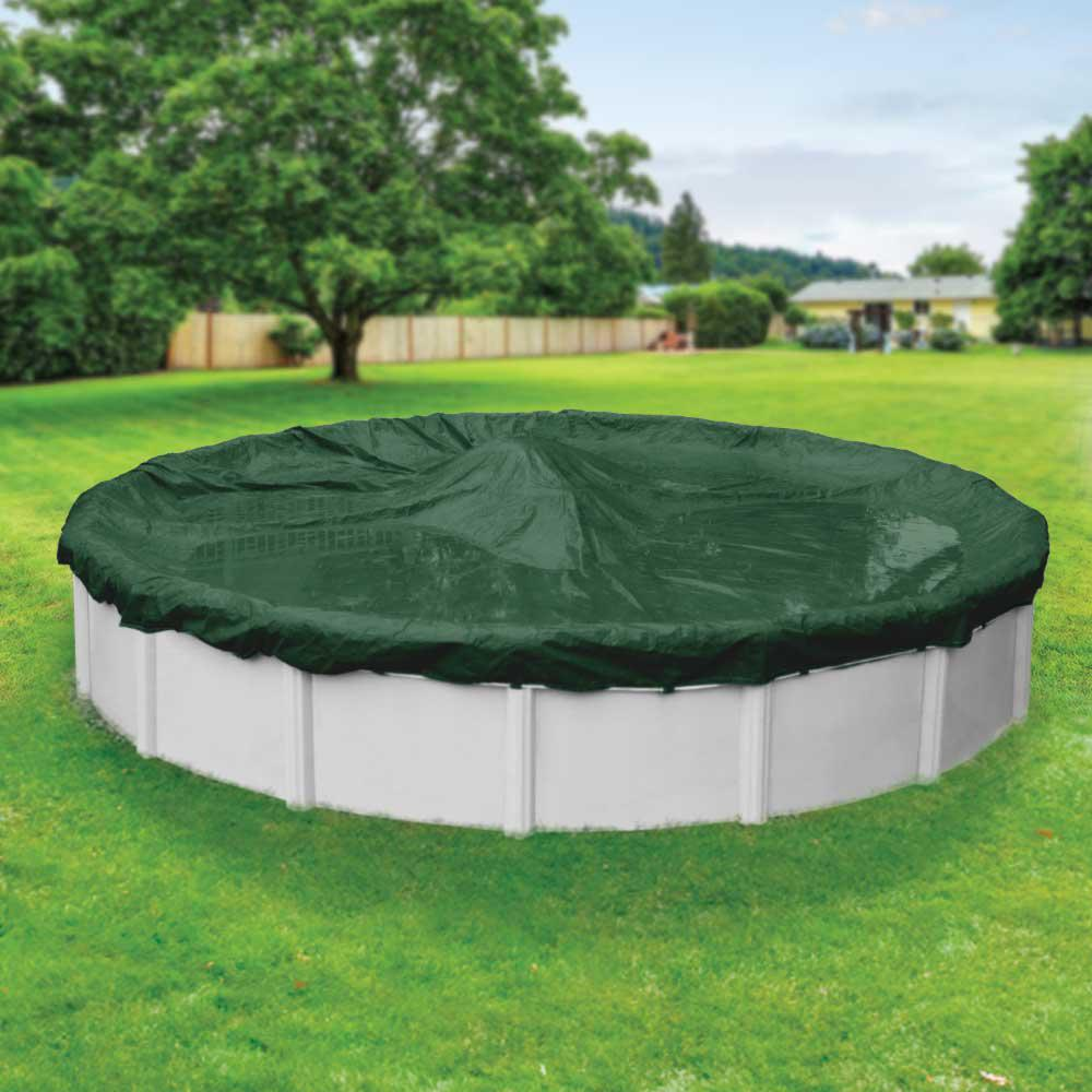 Pool Mate Heavy Duty 15 Ft Round Grass Green Winter Pool Cover 3215