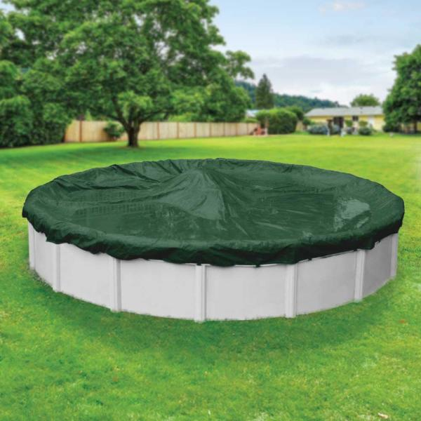 Dura-Guard 33 ft. Round Green Solid Above Ground Winter Pool Cover