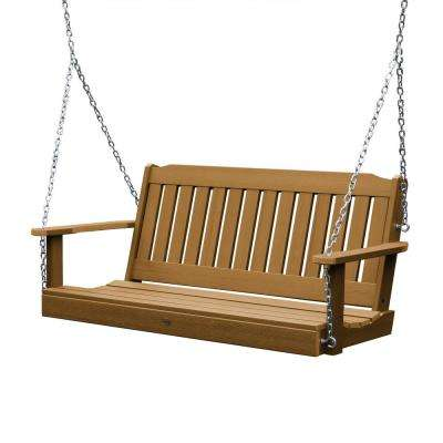 Lehigh 60 in. 2-Person Toffee Recycled Plastic Porch Swing